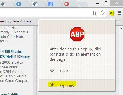 ABP Options Menu