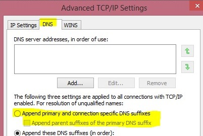 DNS Suffix Settings