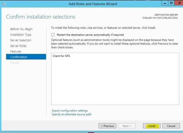 Install NFS Feature