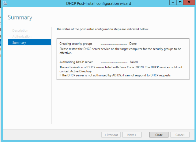 dhcp-post-config-20070 error